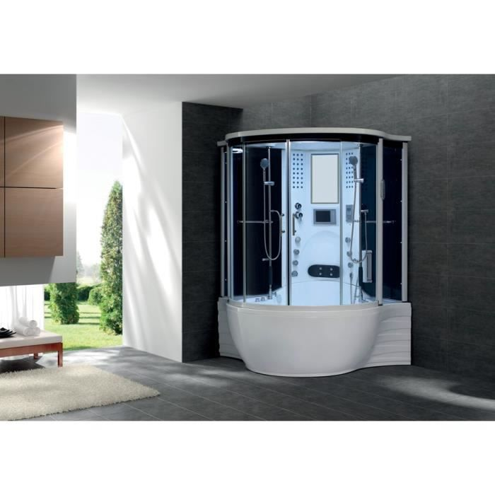 flora dual combine baignoire douche toute equipee hydromassage et balneo 143x143 cm avec hammam. Black Bedroom Furniture Sets. Home Design Ideas