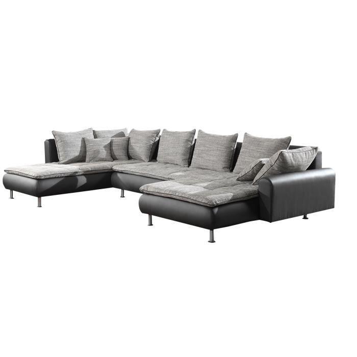 Canapé d angle avec méri nne gauche en simili cuir coloris noir et