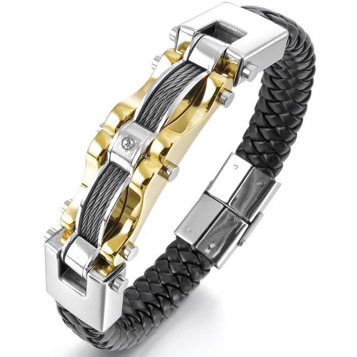 Acier Inoxydable Genuine Leather Cuir Véritable Bracelet Bracelet Menotte Cable Zircon Cz Oxyde De Zirconium Or Argent Noir Mota