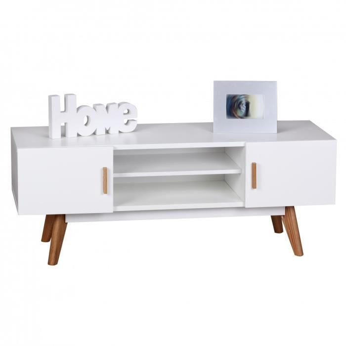 Meuble TV design scandinave 120 cm à 2 portes et 2 niches coloris ...