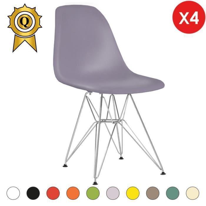 4 X Chaise Design Inspiration Eiffel Eames DSR Acier Inox Chrome Gris Lilac MobistylR