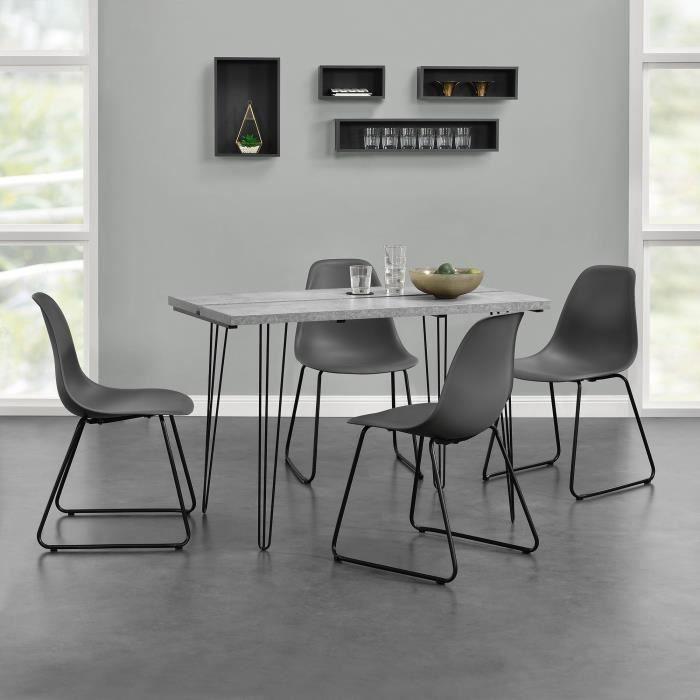 En Casa Table à Manger Moderne Béton Avec 4 Chaises Gris Foncé