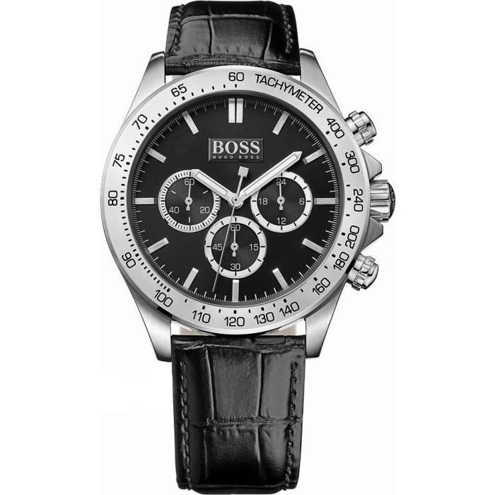 cba13fe00bb Montre Homme Hugo Boss 1513178 Bracelet cuir noir motifs peau de croco