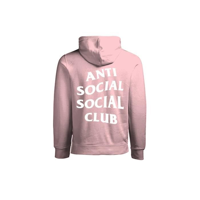 b5b299a1c0c1 ANTI SOCIAL SOCIAL CLUB - SWEAT CAPUCHE ROSE CLAIR - BLACK FONT Rose ...