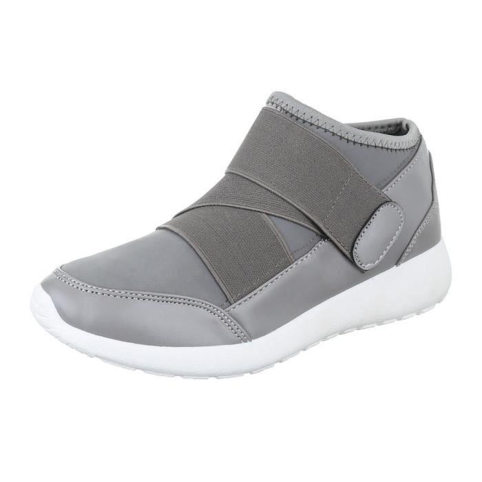 femme chaussure chaussures décontractées fermeture velcro gris