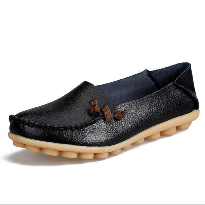 Moccasins femmes De Marque De Luxe Qualité Chaussure Plus Taille Confortable Respirant femme Moccasin 2017 cuir Nouvelle arrivee