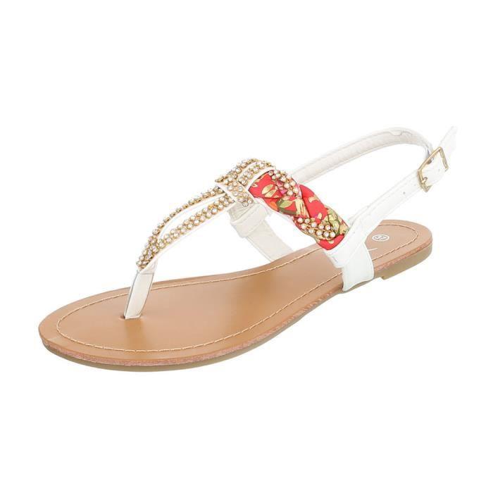 Chaussures femme sandales parsemée de strass des tongs blanc 41