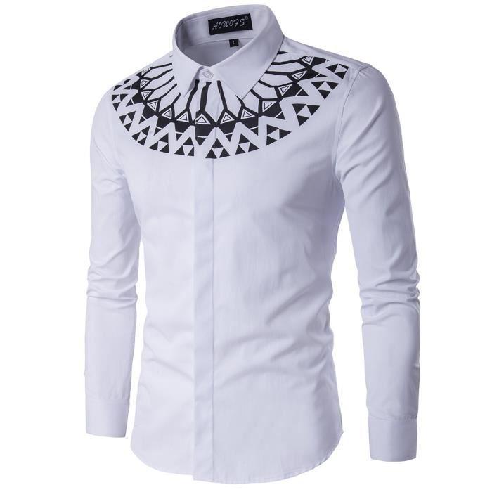 Homme Chemise de Loisir Classique Manches Longues Col Chemise pour Soirée  et Mariage Dress Shirt Men Slim Fit 45ac25591fbf