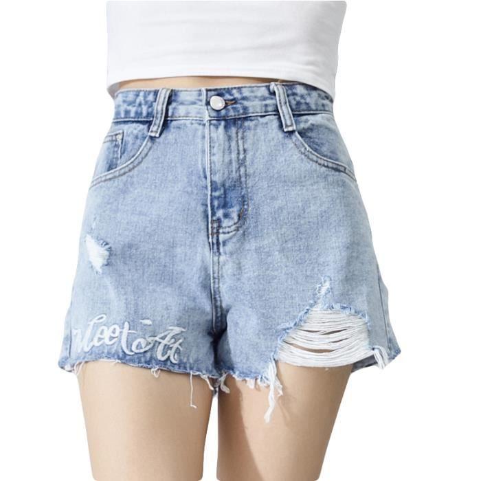 59ce7e9427dedc Short en jean Femme pas cher en Déchiré slim super skinny Shorts Femmes  VêTement - Bleu