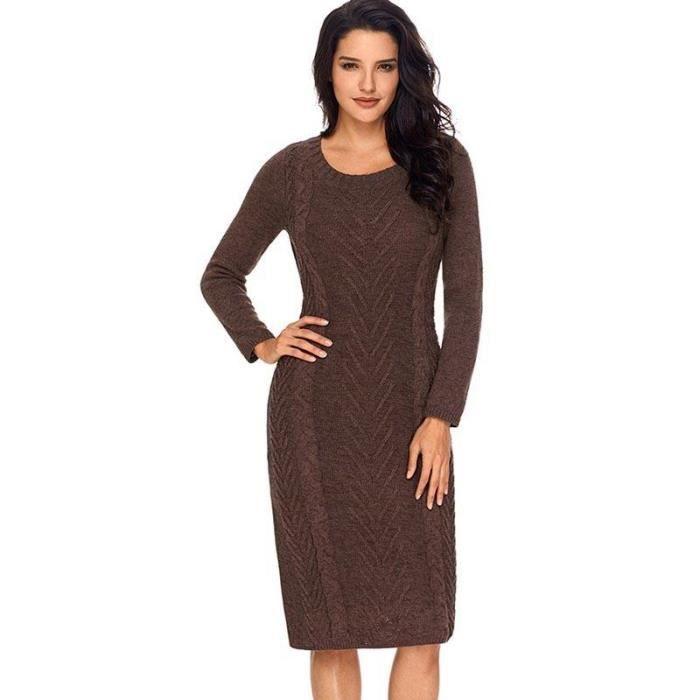 c04b14f6332 Mi-Longue Robe Automne-Hiver Femme Tricot de nervure Slim Fit Robe Col Rond  Femme