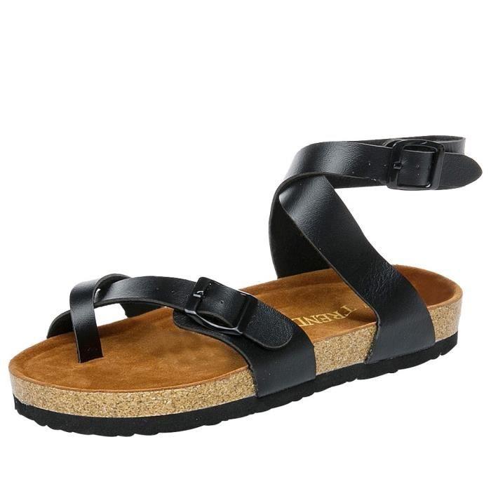Flats Toe Noir Outdoor Fashion Walking xz Strap 3474 Casual Femmes Shoes 0qwwpX8