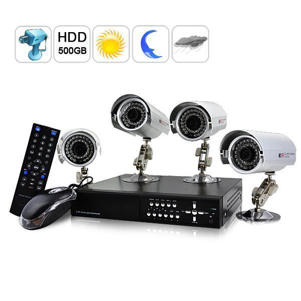 kit de vid o surveillance complet h264 dvr 4 achat vente cam ra de surveillance kit de. Black Bedroom Furniture Sets. Home Design Ideas