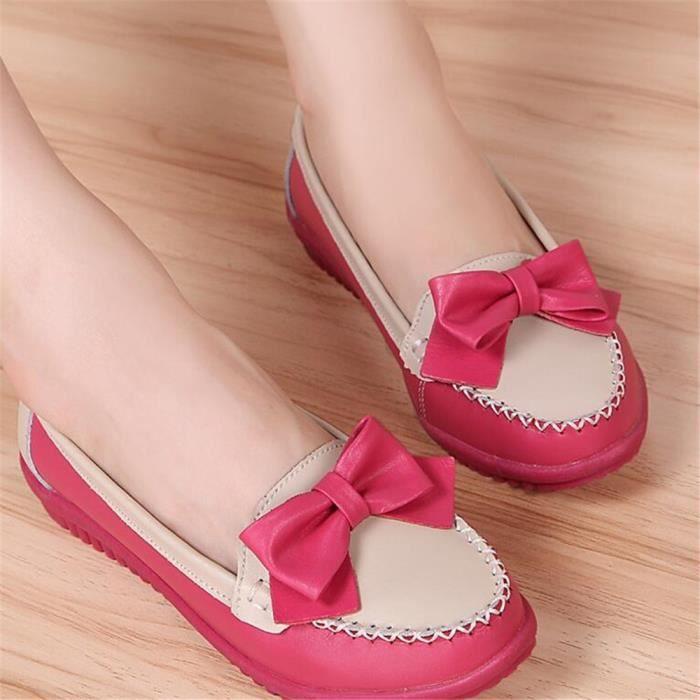 Cht Chaussure Leger Femmes Jaune rouge Plat Talon Mocassin Cuir bleu xz048rouge40 XITYqwwPx