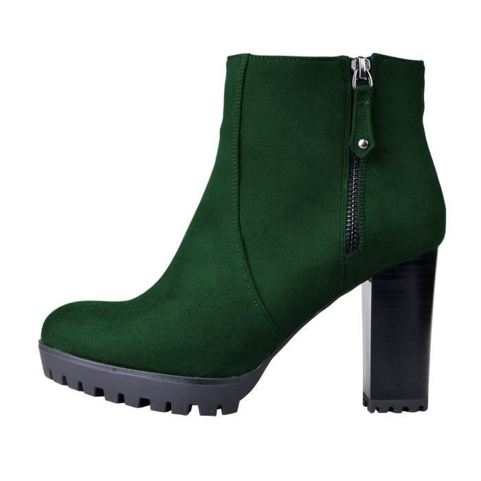 Stacked Chunky Heel Ankle Boots With Platform Round Toe Comfortable Winter Shoes G8OL5 Taille-40 M8Ni52D