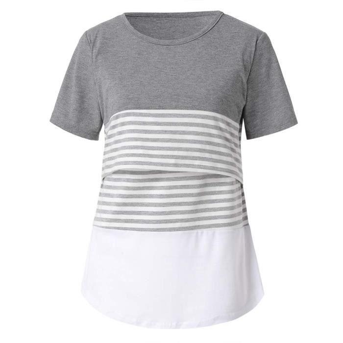 D'allaitement Chemisier Les Col Courtes Shirt Femmes Stripe Gris Rond Manches 1014w5