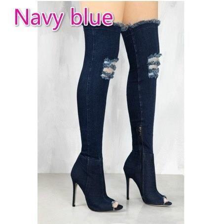Toe Talons marin bleu Cuissardes Lady Casual minces Bottes Femmes 10 Denim ouvert Stiletto Mode Cuissardes Shoes g11FfAI
