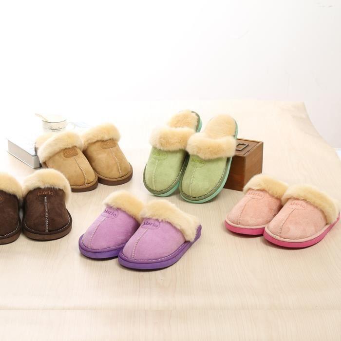 pantoufles pantoufles en coton hiver deux nouvelles pantoufles en peluche maison chaussures hiver femmes,marron foncé,35