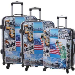 VALISE - BAGAGE Lot de 3 valises rigides Les Etats-Unis  76, 67 et