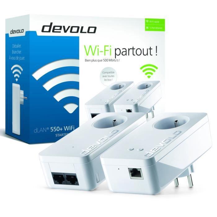 DEVOLO Kit CPL Wi-FI 500 Mbit/s modèle dLAN 550+ 9835