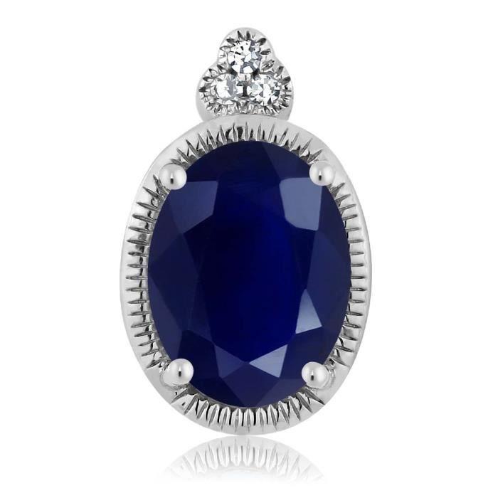 Pendentif En Or Blanc 10k - Saphir ovale et Diamant avec chaine - 1.02 ct