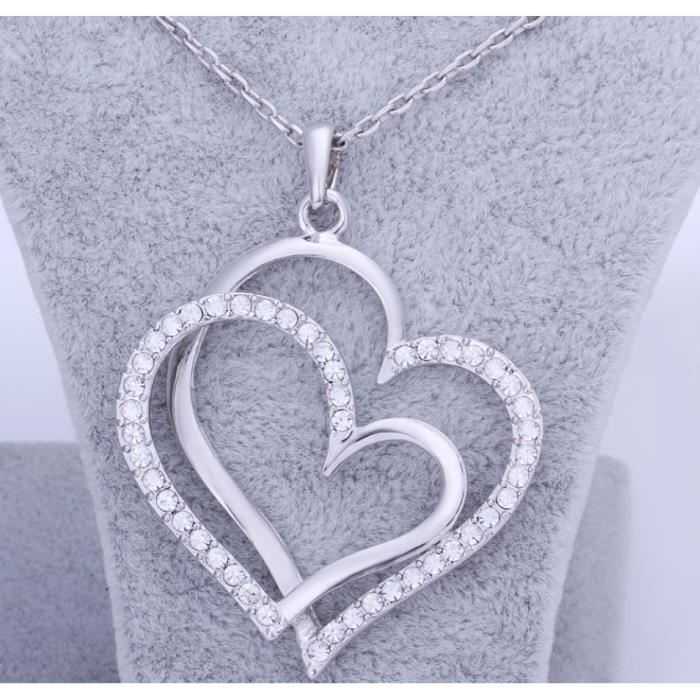 Collier Femme Pendentif Grand Coeur Cristal