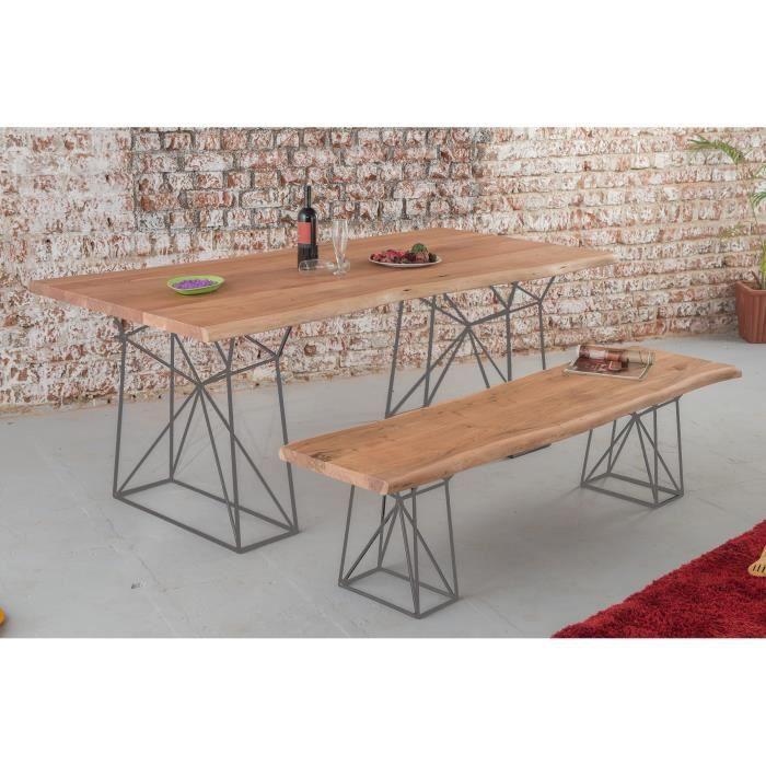 Table De Repas Tronc D Arbre Et Pieds Metal Gris Zen Meuble House