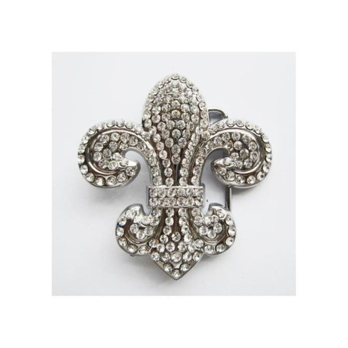 72020491748 Boucle de ceinture fleur de lys strass brillant femme pinup - Achat ...