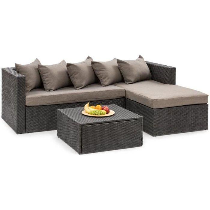 Blumfeldt Theia Lounge Salon de jardin 5 places en résine tressée - canapé,  table basse, coussins & housses marron - poly rotin noir