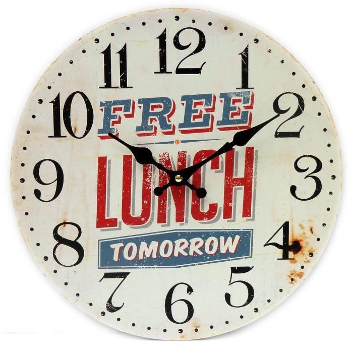 pendule horloge murale lunch en bois métal publicitaire anglais