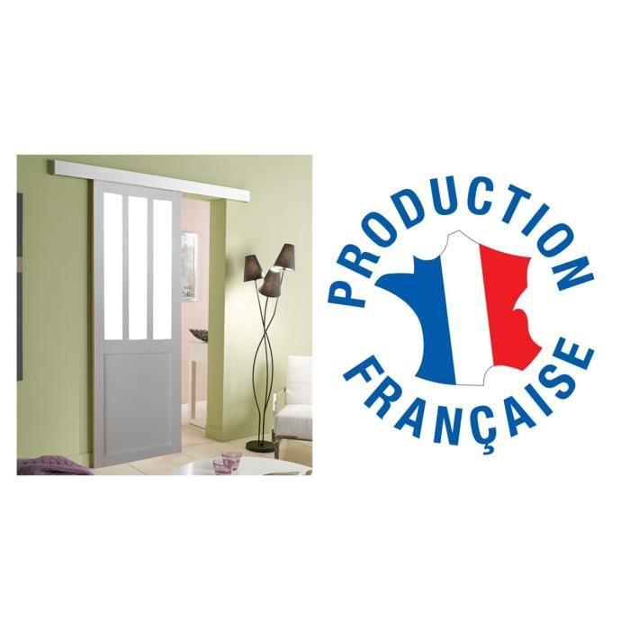 PORTE COULISSANTE Porte Style Atelier Blanche 204x63 Avec Rail
