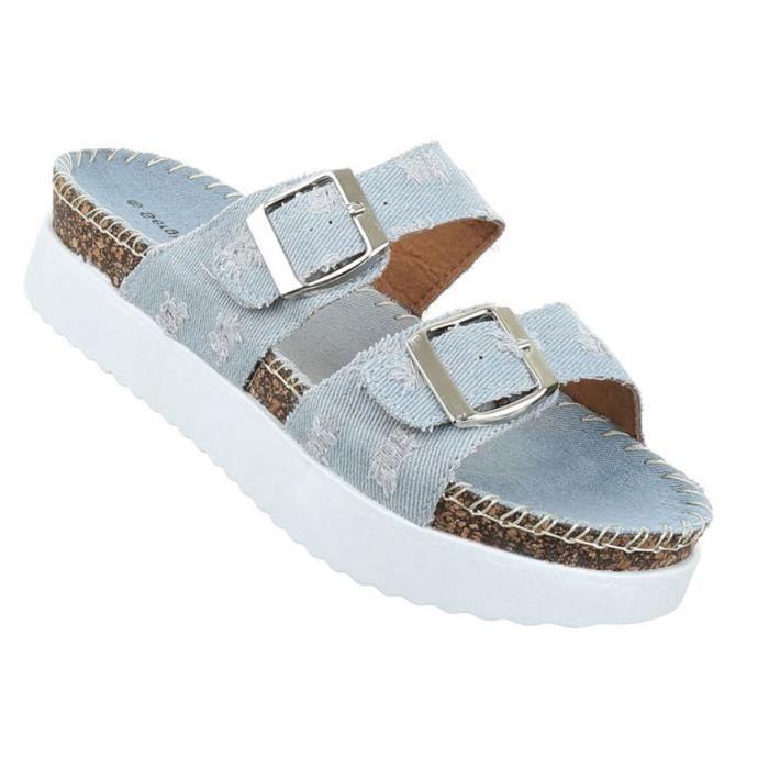 Femme sandales chaussures chaussures de plage chaussures d'été Pantoletten bleu clair 36