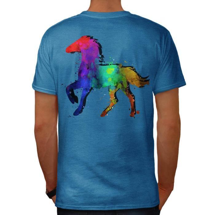 5e5b05e4f Éclaboussure Cheval Peindre Colorant Couleur Men S-5XL T-shirt à col en V    Wellcoda