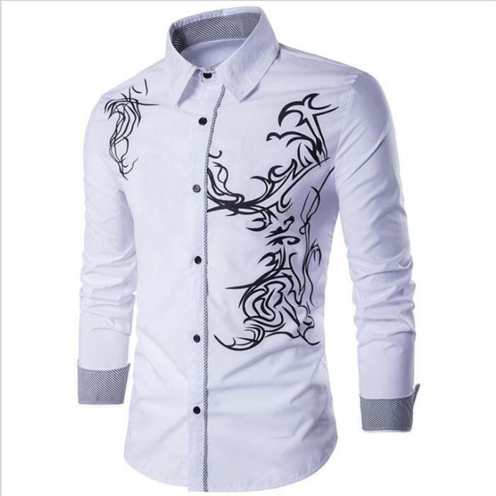Chemise homme Chemises à manches longues homme Vetement De Marque De Luxe  Nouvelle Mode Confortable Vetements Plus Taille XXXL 39bb2560aae