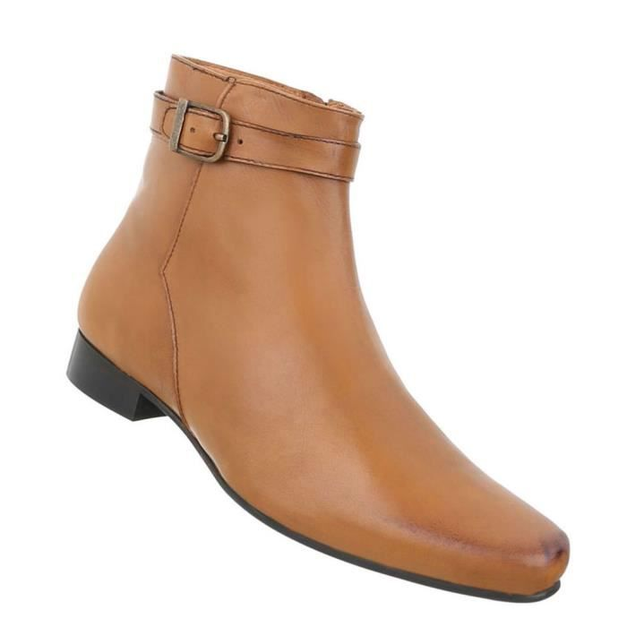 Chaussures Hommes Bottes Used optique cuir Beige 48