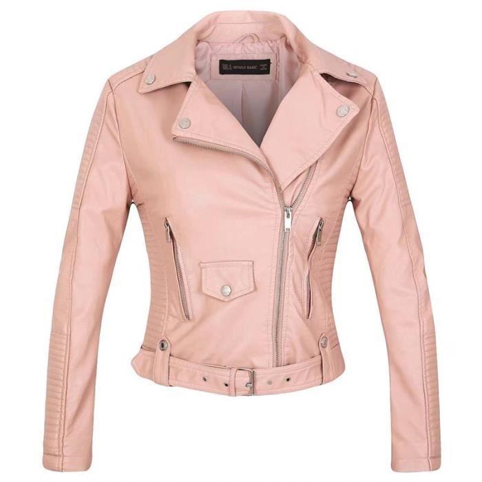 Veste en cuir femme rose