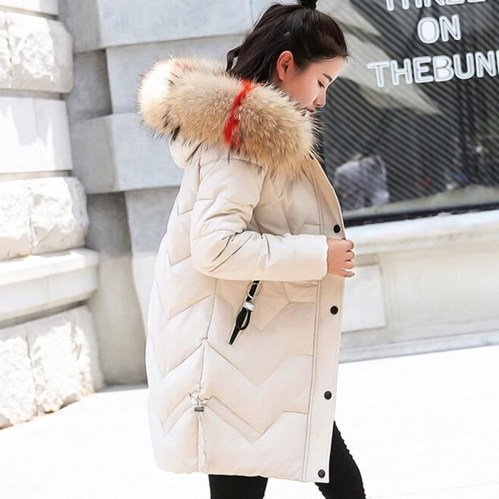 Femmes Veste Parka Col À Longue De Capuchon Chaud Coton Beige Fourrure Manteau Slim Outwear Thicker T1ZraT