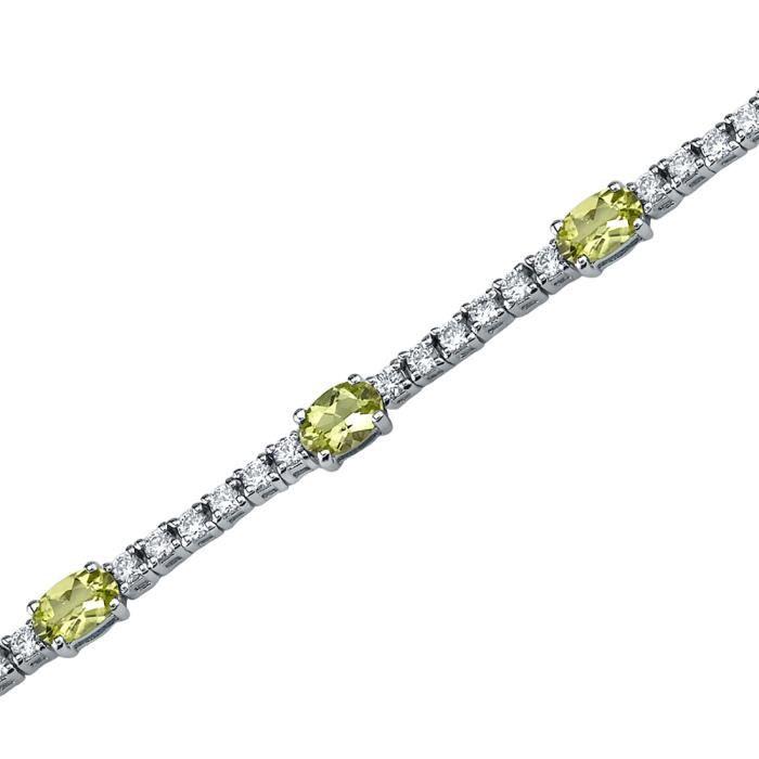 Bracelet - Femme -Argent- PéridotOvale