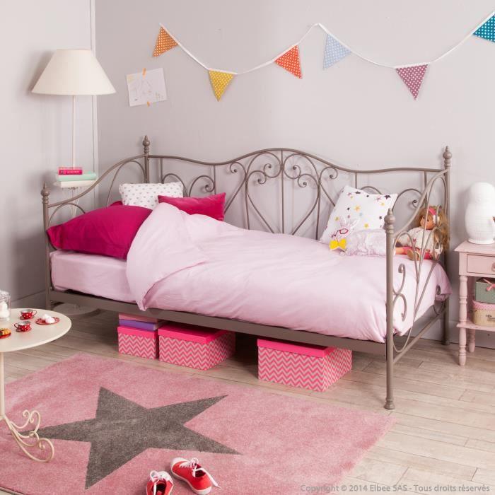 lit banquette 1 personne en m tal couchage 90x190cm capucine gris avec 1 matelas achat. Black Bedroom Furniture Sets. Home Design Ideas