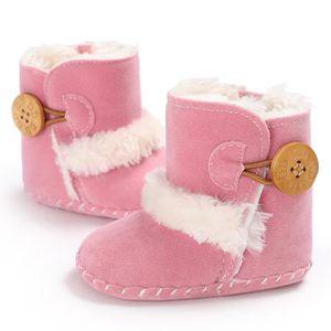 bébé filles hiver doux berceau unique chaud bouton appartements coton chaussure enfant en bas âge pré chaussures Walker 6PcjBnFy