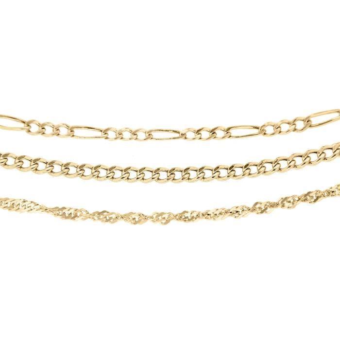 1.40.3611 - Trois Bracelets Femme - Or Jaune 9 Cts 2.15 Gr WOI6M