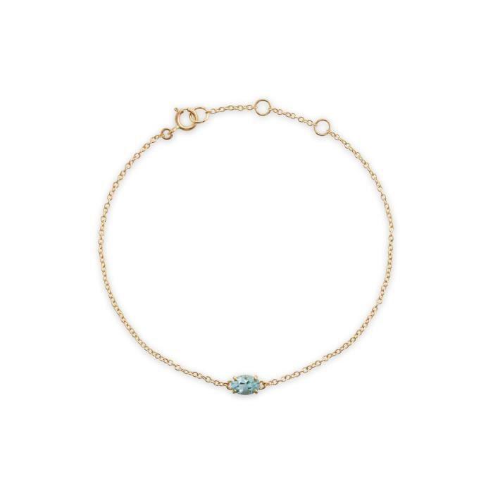 gemondo AIGUE-MARINE Bracelet, 9 Ct Or Jaune 0.39CT CT AIGUE-MARINE 19CM BRACELET