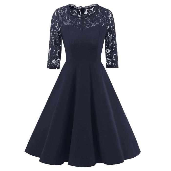 exquisgift®Florales dentelle Cocktail robe de soirée à manches longues robe de demoiselle dhonneur MARINE~YLL71128529NYA