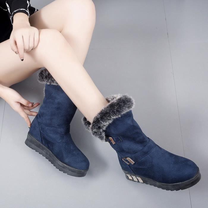 De Bout Pachasky®femmes Neige Slip Bottines D'hiver on Fourrure Bottes bleu Plat Rond Soft qZwfZIA