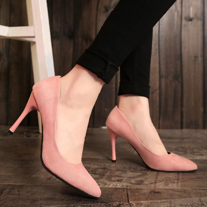 Pumps Leisure High Party Pointed Heel xz 5543 Shoes Rose Fine Slip on Fashion Toe Femmes tCxvw0tqH
