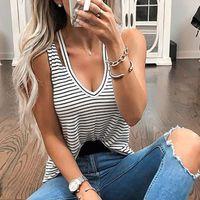 CHEMISIER - BLOUSE Femmes d'été V rayé à col Gilet réservoir Shirt Ca