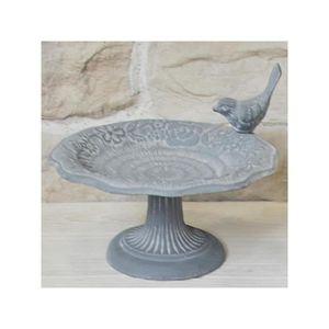 MANGEOIRE - TRÉMIE Bain d'Oiseaux sur Pied en Fonte Gris ø 22 cm