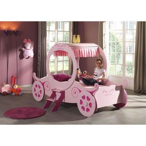 STRUCTURE DE LIT FUN Lit enfant carrosse 90x200 cm - Rose