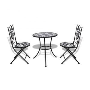 TABLE À MANGER COMPLÈTE Superbe Set de bistro mosaïqué table 60 cm et 2 ch