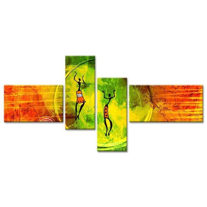 Thème : Pas de thème - Tableau Déco danseuses africaines - 130x65 cm - JauneTABLEAU - TOILE