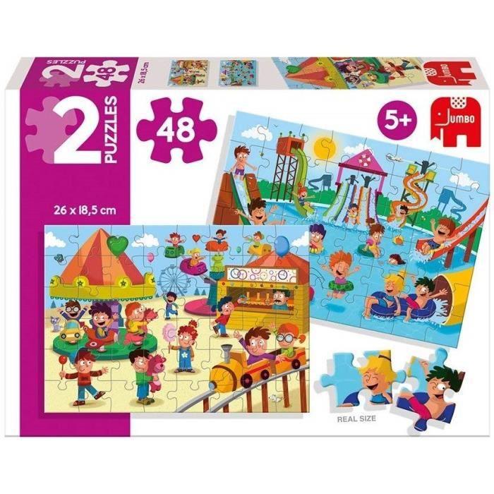 DISET - 2 Puzzles 48 pièces : Le parc aquatique et la fête foraine